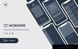 26+移动APP应用UI/UX屏幕界面设计线框图设计套件 MobiWire Mobile Wireframe Kit