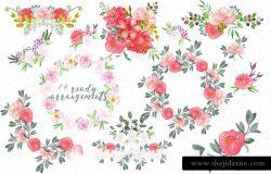 手绘水彩牡丹玫瑰花卉花束设计素材