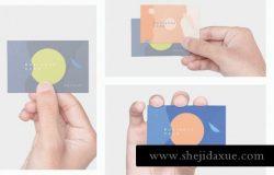 多用途的手持名片设计VI样机business-card-mockups
