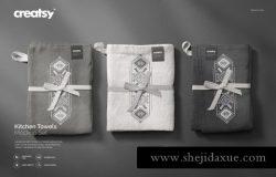 高端高品质厨房毛巾花纹设计展示样机Kitchen Towels