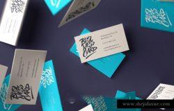 名片场景贴图样机品牌提案模版 Falling Psd Business Card Mockup 3