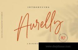 优雅的女性英文连笔字体 Aurelly Signature