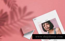 女性粉色名片卡片场景贴图样机PSD模板