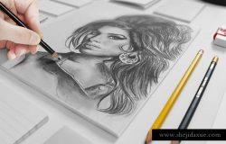 文具纸张贴图PSD模板Artist Sketch Mockup