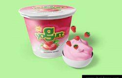 酸奶包装模型PSD贴图模板Yogurt Packaging Mockups