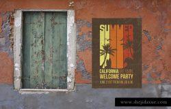 复古风格威尼斯墙壁海报张贴展示模型