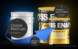 油漆桶模型PSD贴图模板Paint Bucket Mockup