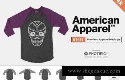 美式溜肩长袖体恤样机 American Apparel BB453 Mockups