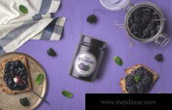 果酱玻璃罐容器模拟顶部正面视图Jam Jar Packaging Mockup
