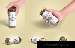 高品质的橄榄玻璃罐头包装设计olives-glass-jar-mockups