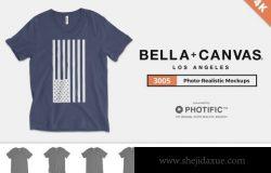 男士体恤样机 Bella Canvas 3005 V-Neck Mockups