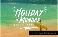 假日手写斜体英文字体 Holiday in Monday Display Font