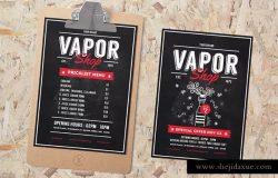 电子烟配件烟油促销活动海报模板 Vape Shop Flyer Menu