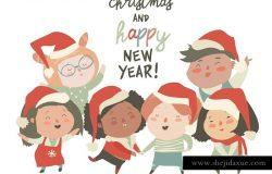圣诞节主题儿童矢量插画