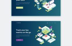 独特风格智能区块链分散支付供应链数据共享概念插画素材 Blockchain Illustrations