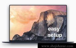 扁平化苹果笔记本正面网页设计提案样机PSD模板 MacBook Pro Flat Mockup