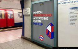 伦敦地下地铁广告海报照片展示模型