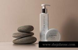 乳液化妆美容产品包装设计提案贴图场景样机模板 Lotion Psd Bottle Cosmetic Mockup