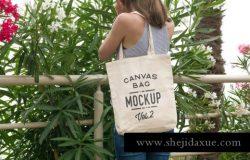百搭实用的帆布袋环保袋设计样机Canvas Tote Bag