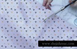高品质手持剪刀布织物特写VI样机展示模型fabric closeup