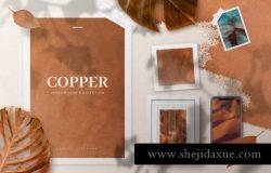 高端个性品牌设计展示套装样机copper-realistic