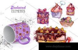 美味蛋糕紫罗兰色水彩插图