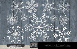 雪花圣诞节素材插画 Snowflakes christmas rustic wood