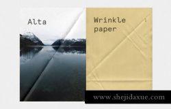 真实褶皱感觉的海报设计展示样机Fold Paper