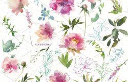 手绘水彩花卉字母数字设计素材