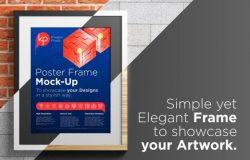 简洁海报墙照框架样机Poster_Frame_Mock-Up