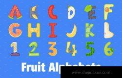 水果字母矢量图标下载 Fruit Alphabets Flat Vector Icons