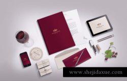 高端红酒品牌VI设计展示模型 Stationery Branding