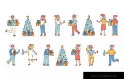 庆祝新年人物形象线条艺术矢量插画素材 New Year Lineart People Character Collection