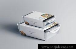 外卖可微波加热食品包装设计提案展示PSD样机模板