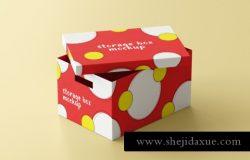 家用储物盒纸盒包装设计贴图品牌提案样机PSD模板