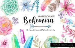 波西米亚异国情调自然图形设计PNG免扣水彩元素