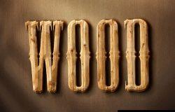 3D木质文字效果3d Wood Text Style