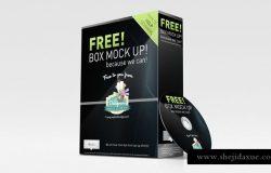 包装纸盒模型PSD贴图模板Packaging Box and CD Mockup
