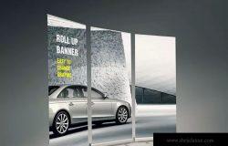 易拉宝X展架海报设计效果图样机模板