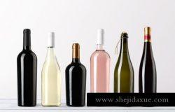 高品质的红酒包装设计wine-bottles-mockups-vol