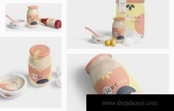 玻璃瓶果酱芝麻酱花生酱瓶装食品包装瓶贴标签展示效果图