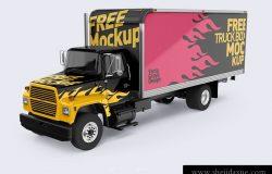 福特卡车四个视角车身广告贴图展示模版