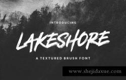大气的笔刷效果的字体 Lakeshore Brush Font