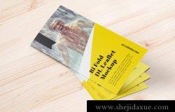 双折页DL传单设计印刷提案样机PSD模板素材 Bi-fold DL Brochure Mockup