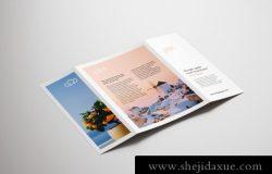 3折页宣传手册小册子设计贴图样机PSD模板 Single gate fold brochure mockup