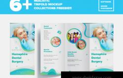 双折页传单样机PSD模板素材 Realistic Trifold Mockup Collections
