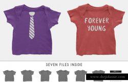 婴儿拼短袖T恤样机素材Infant Lap Shoulder T-Shirt Mockups