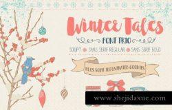 冬季味道的字体图形素材 Winter Tales – cozy font trio