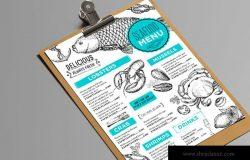 素描设计风格海鲜餐厅菜单模板素材