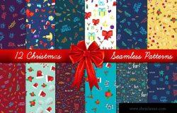 圣诞节主题四方连续图案节日无缝背景素材